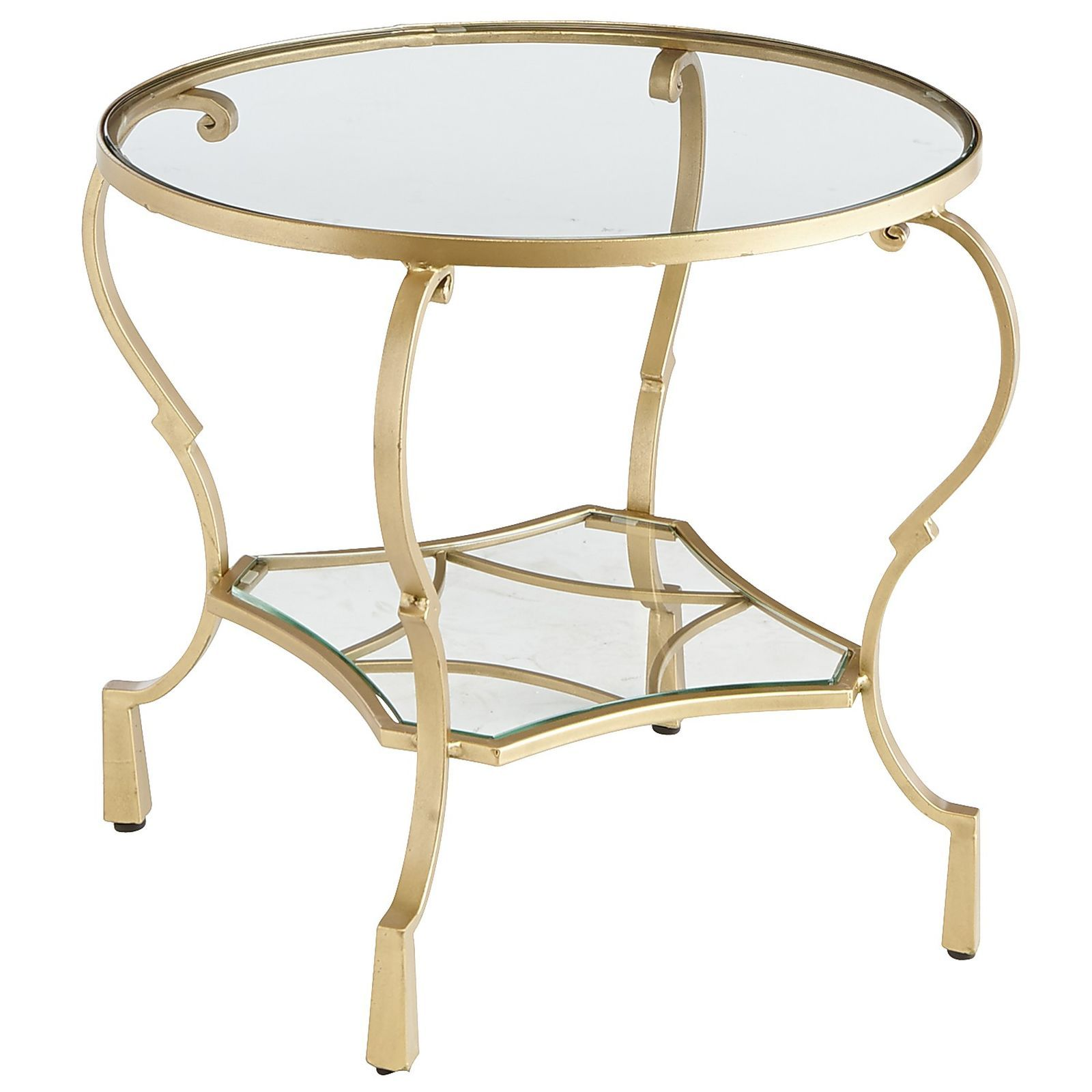 Chasca Glass Top Gold Round End Table | Iron, Shelves and Spaces