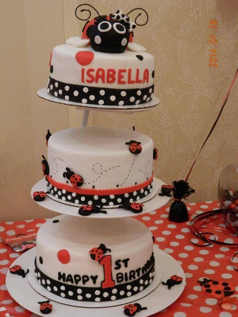 Pleasant Lady Bug 1St Birthday Cake 1St Birthday Cake Birthday Cards Printable Giouspongecafe Filternl