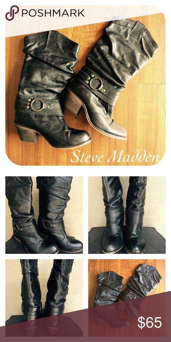 Steve Madden Women's Western Boots Steve Madden Women's Diablo Western Boots. Leather slouchy upper. Decorative ankle strap. Previously used but good condition. Made in Mexico. Steve Madden Shoes Heeled Boots