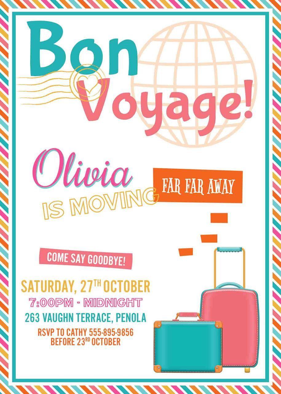 Farewell Party Invitation In Pink Aqua & Orange   Party ideas ...
