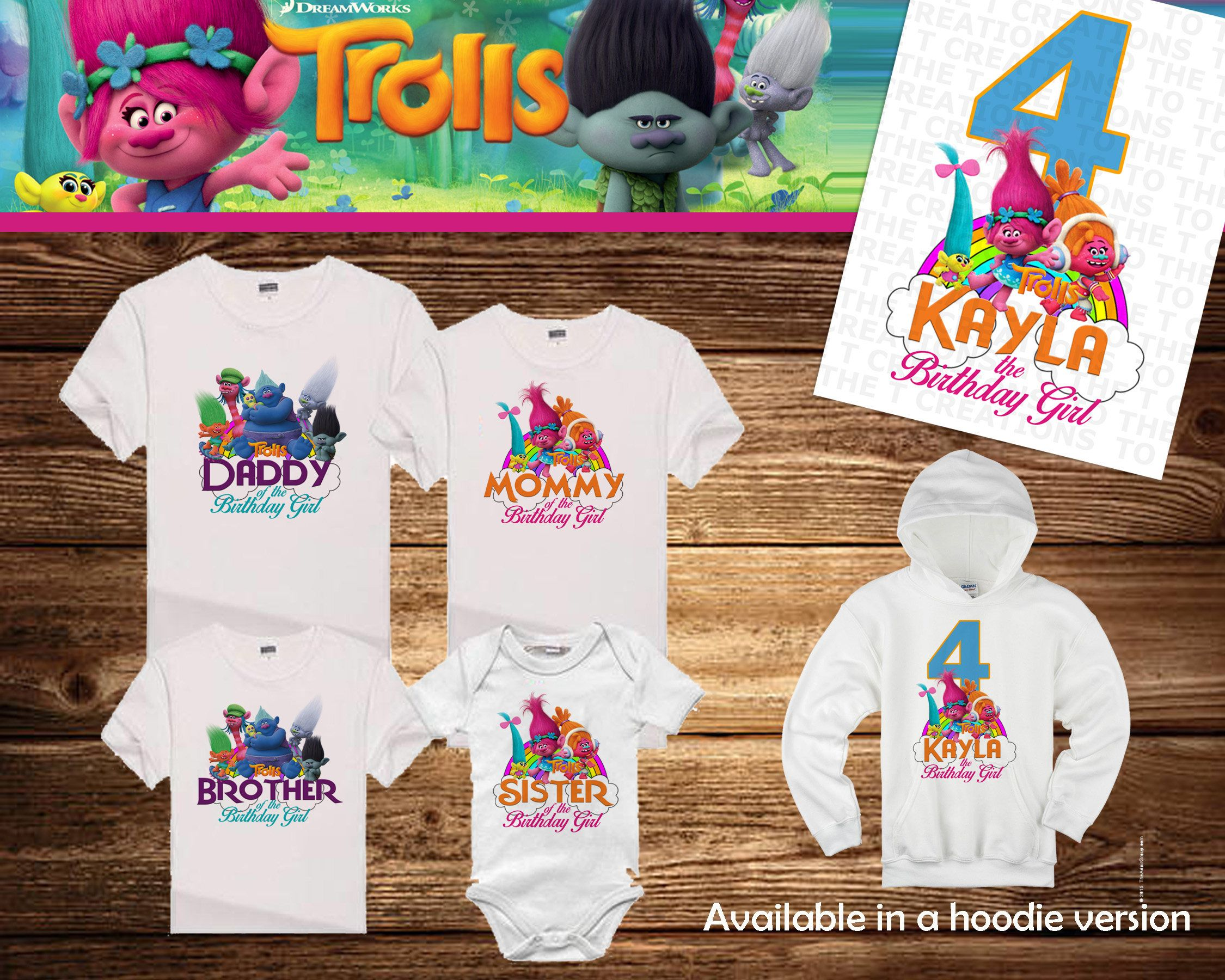 4d7a20c1c Trolls Poppy Personalized Birthday Shirt - Tshirt - Hoodie - Onesie - Mom -  Dad - Sister - Brother - Birthday
