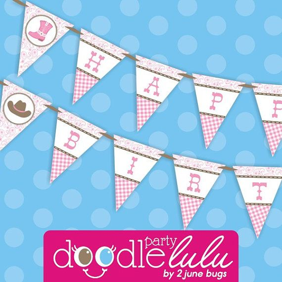 Diy Printable Pink Paisley Cowgirl Party Happy By Doodlelulu