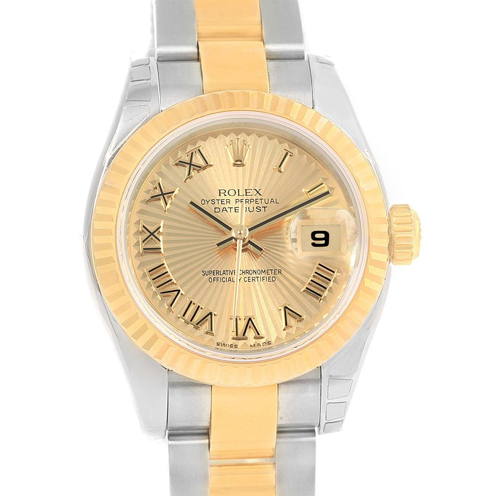 rolex datejust steel yellow gold sunray dial ladies watch