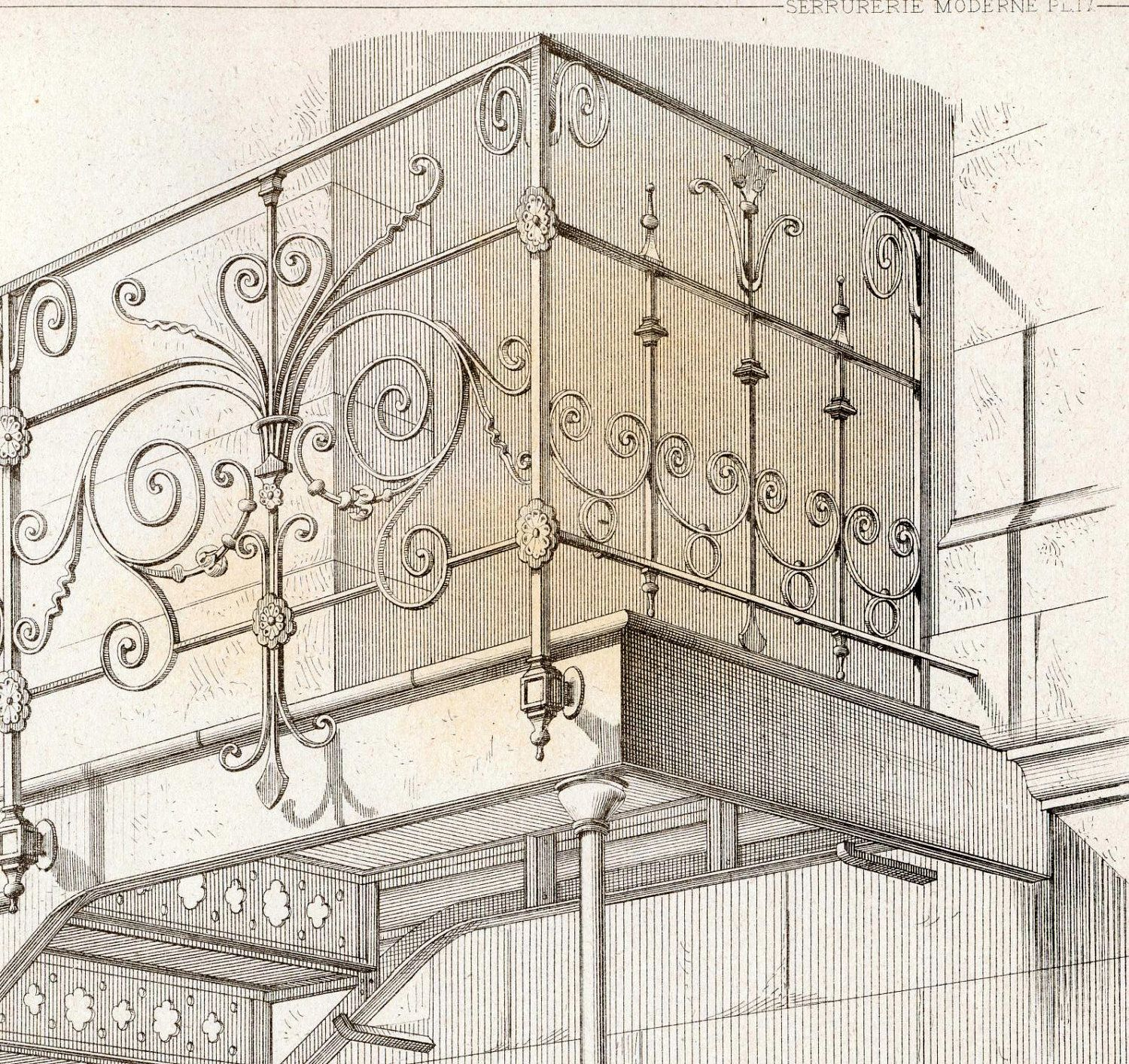 1880 French Antique Engraving of Decorative and Architectural Metalwork. Wrought Iron Staircase in Paris