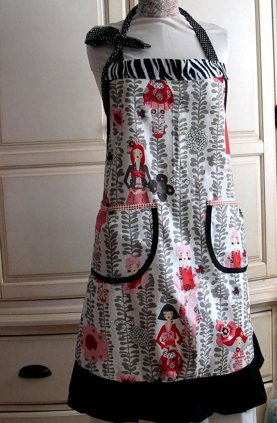 Beautiful Hostess apron in Gorgeous -Rivoli Girl a beautiful print from Alexander Henry coordinating with Grey fabric .Flowing style .Perfectly finished