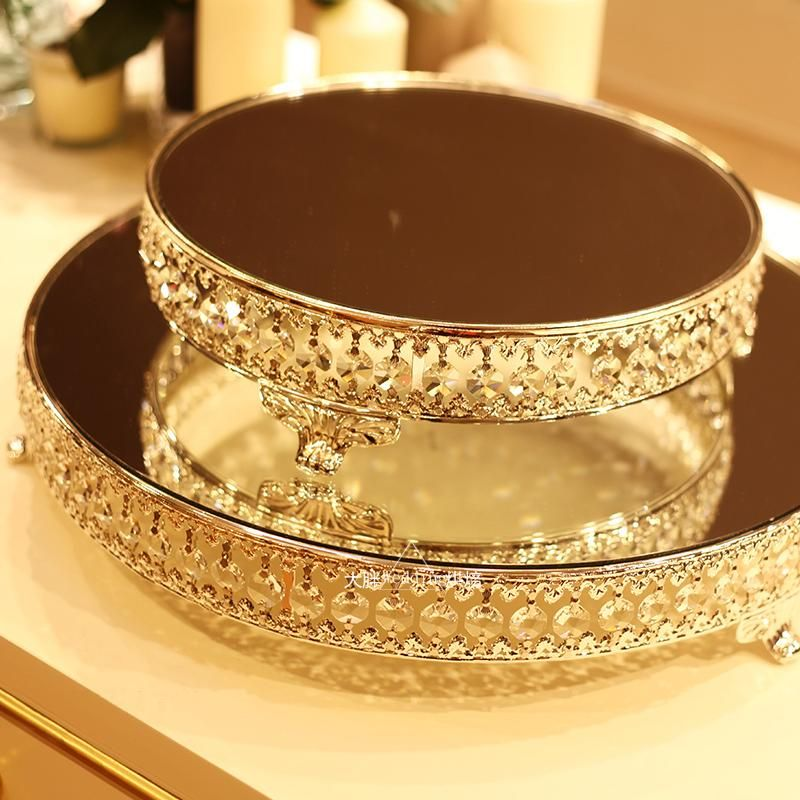 Kingart Large Mirror and Metal Glass Cake Serving Tray Hotel Wedding ...