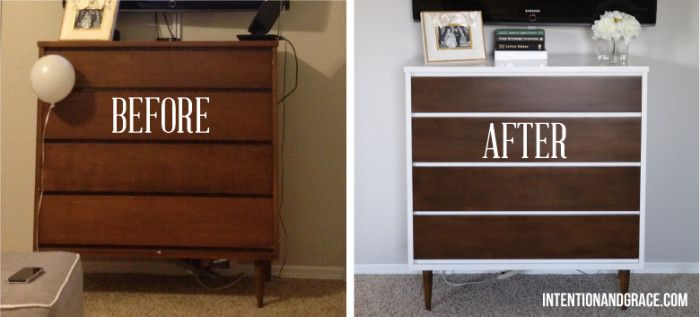 Mid Century Modern Dresser Diy Painting And Staining Laminate Or Fake Wood Refinishing Before After Intentionandgrace