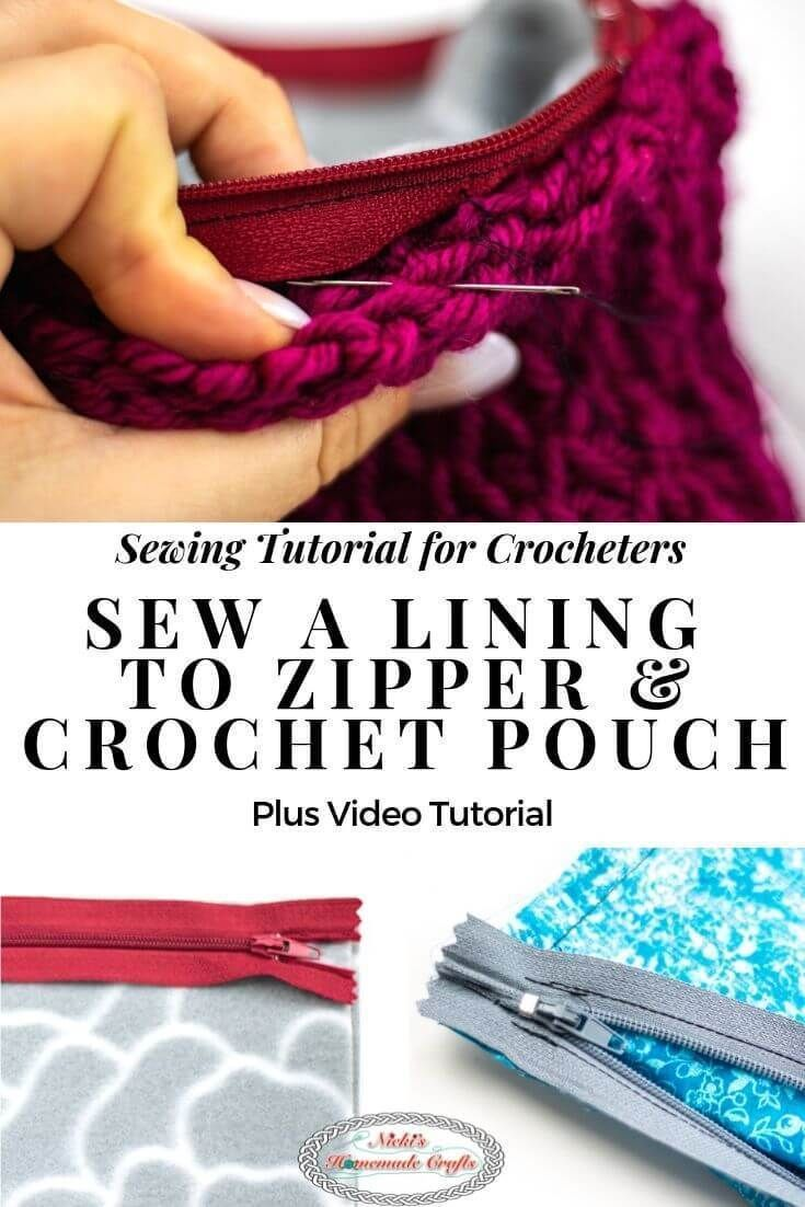 Learn how to Sew a Lining with Zipper to a Crochet Pouch or Bag Easily with this Photo and Video Tutorial. #free #crochet #pattern #tutorial #sew #sewing #sewingtutorial #crochetbag #crochetpouch #bag #lining #zipper #pouch #sewingmachine #handsewn
