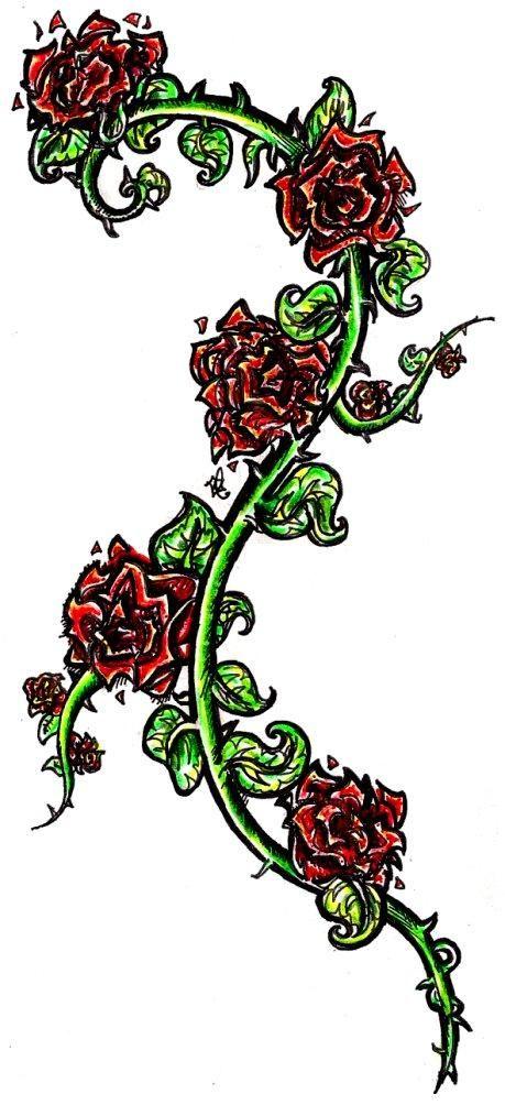 Design With Images Vine Tattoos Rose Vine Tattoos Rose Vines