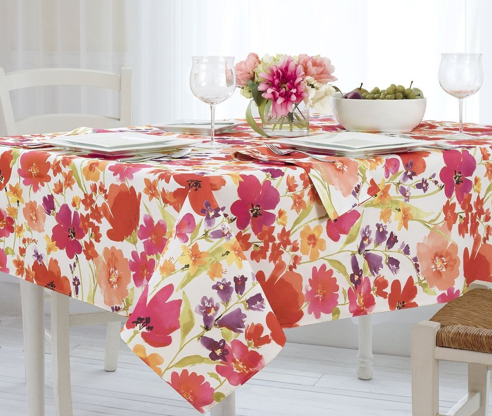 Fashions Tablecloth Floral Colorful Spill Proof Vinyl Polyester Flannel Backing Elrene Tischdeckenbeschwerer