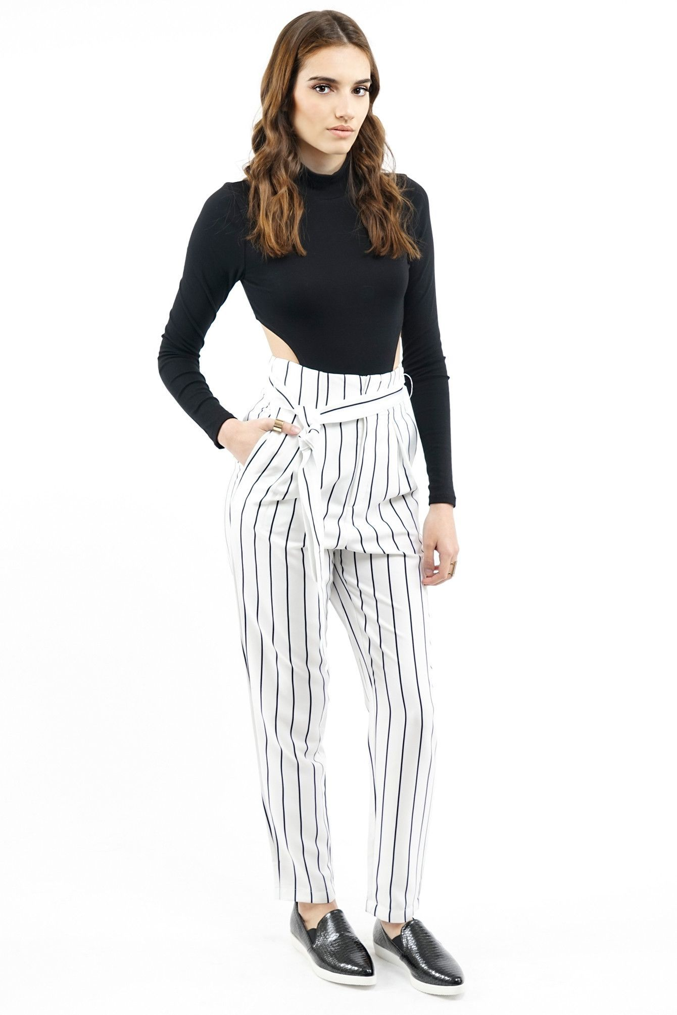 086ce61c53d EDITOR S NOTES   DETAILS - Black-White - Vertical Stripes - High-waisted -  Trousers Harem pants style - 95% Polyester 5% Spandex