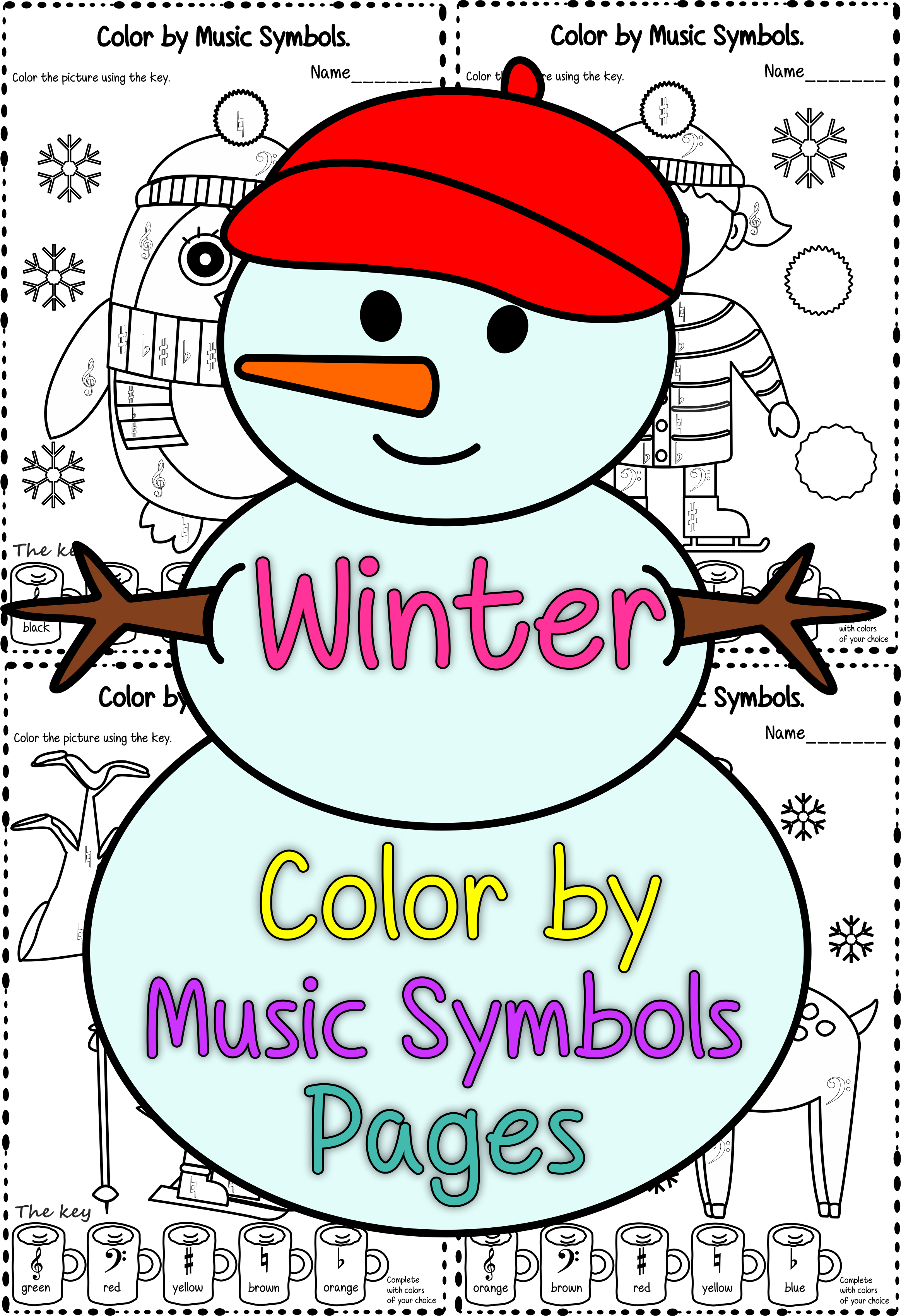 Winter Color By Music Symbol Pages