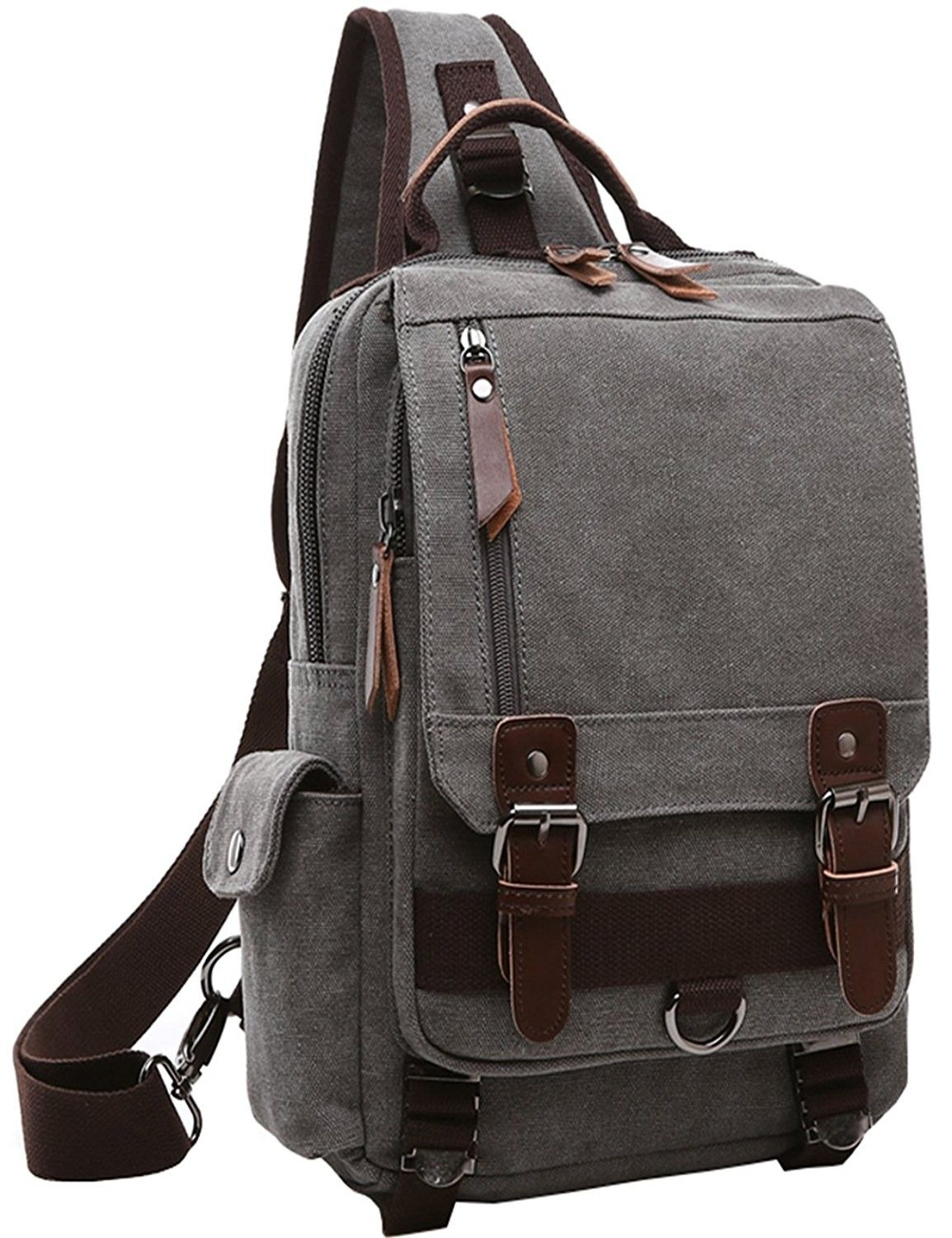 Canvas Messenger Bag for Men Laptop Sling Backpack Cross Body Shoulder Rucksack