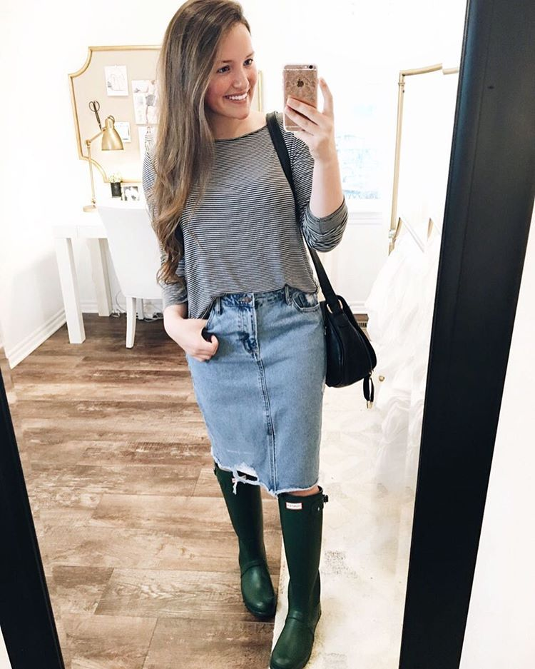 "Courtney Toliver Guthrie on Instagram: ""This outfit is super casual, but it includes two of my favorite things: Hunters and stripes! It's been raining all day, so I finally get to…"""