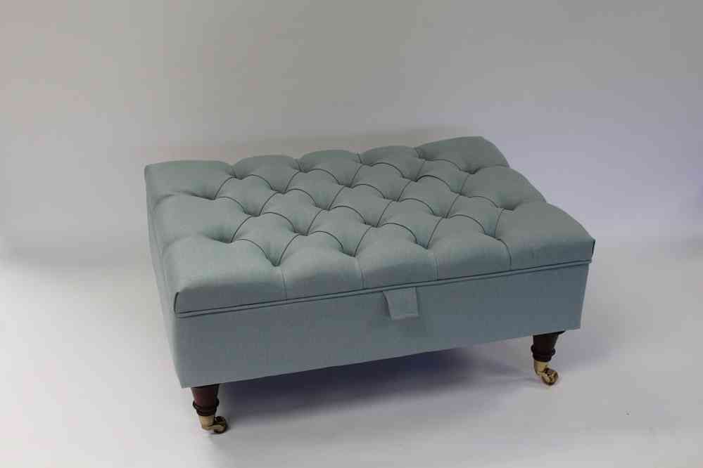 Duck Egg Blue Linen Chesterfield Upholstered Coffee Table Storage Ottoman  Footstool - Sleeping Partners - British - Duck Egg Blue Linen Chesterfield Upholstered Coffee Table Storage