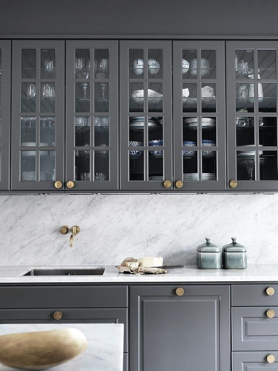 Gray Kitchen Cabinets with Gold Knobs, Contemporary, Kitchen ...