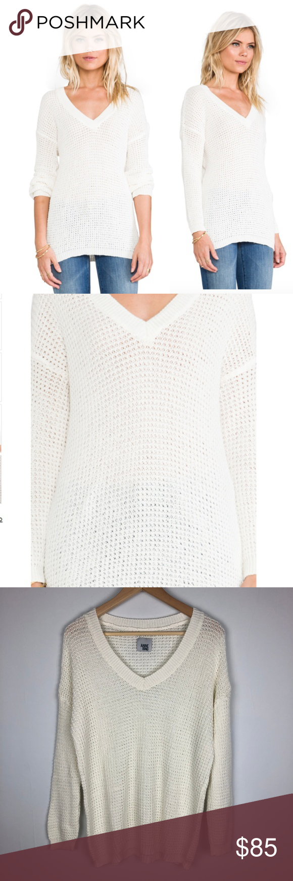 Anine Bing White Knitted V-neck Sweater Size Med Gorgeous Anine Bing White  Knitted V-neck Sweater in LIKE NEW condition! No flaws 0ed24a2f0