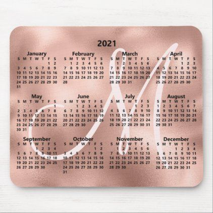 Faux Rose Gold Foil Elegant Monogram 2021 Calendar Mouse ...