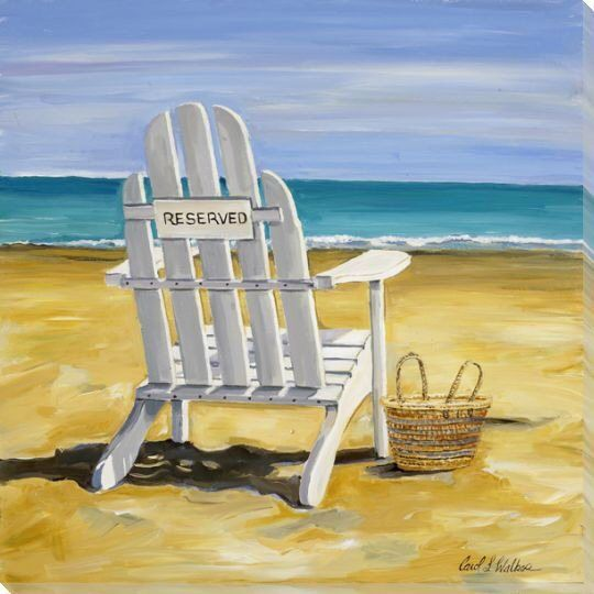 Reserved Beach Chair Wrapped Canvas Giclee Print Wall Art In 2020