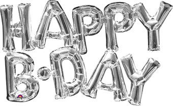 HAPPY BDAY Silver Connected Phrase Balloons AIR FILL
