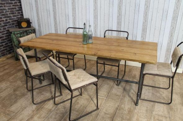 This Vintage Style Steamer Metal Base Table Forms Part Of A New Custom Industrial Style Dining Room Tables Review