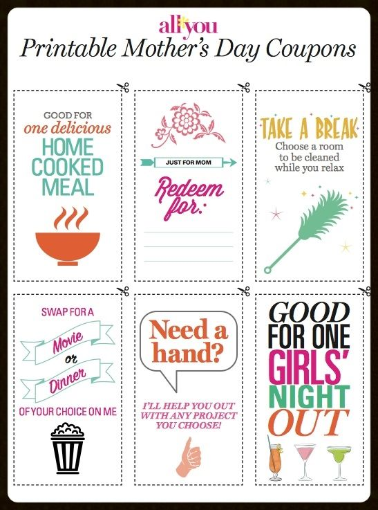 Printable Motheru0027s Day Coupons Cook meals, Coupons and Ministry - printable vouchers