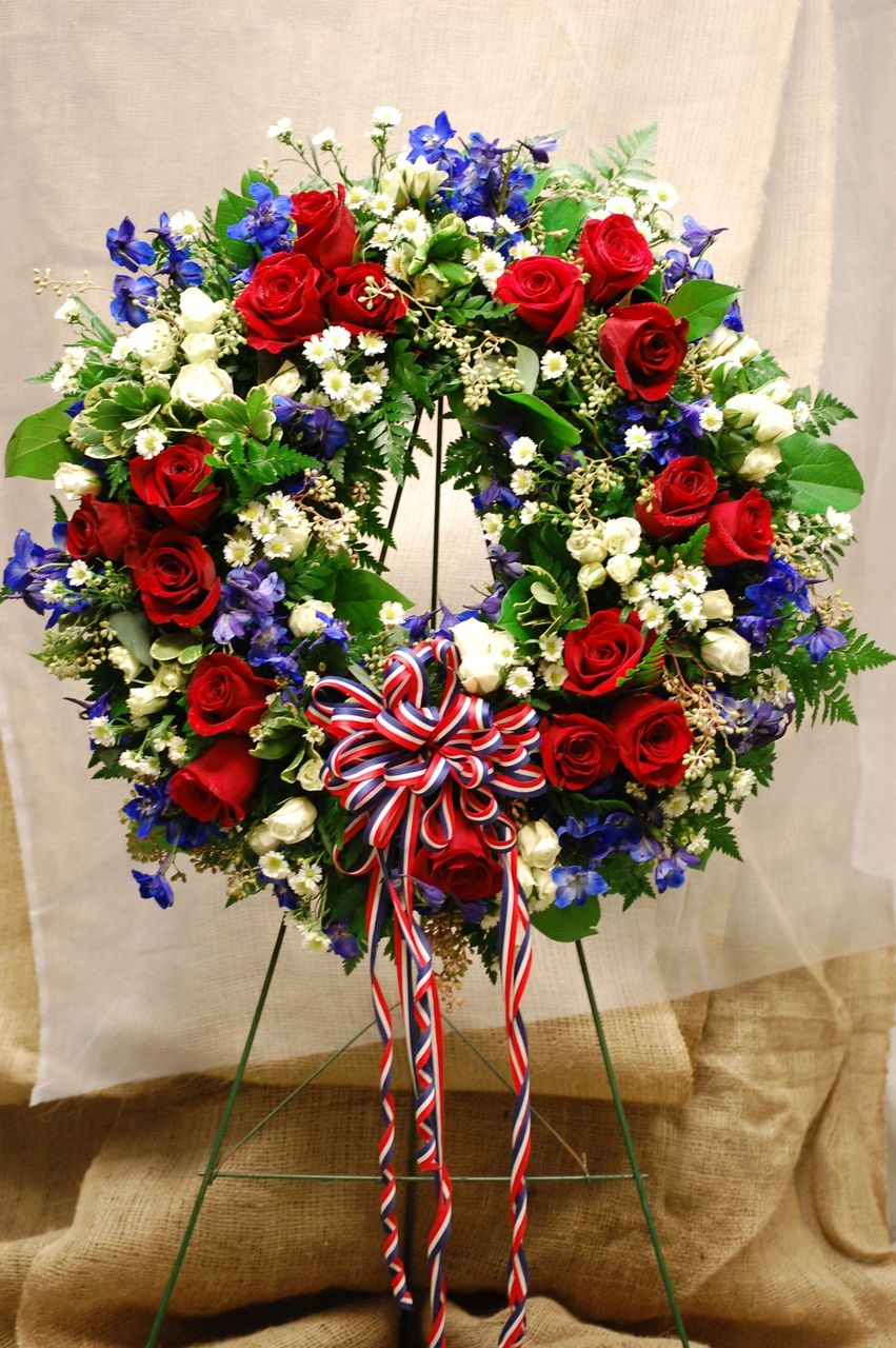 Red White And Blue Wreath Call For Prices York Flowers