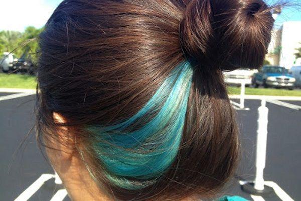 beautiful blue hair streaks