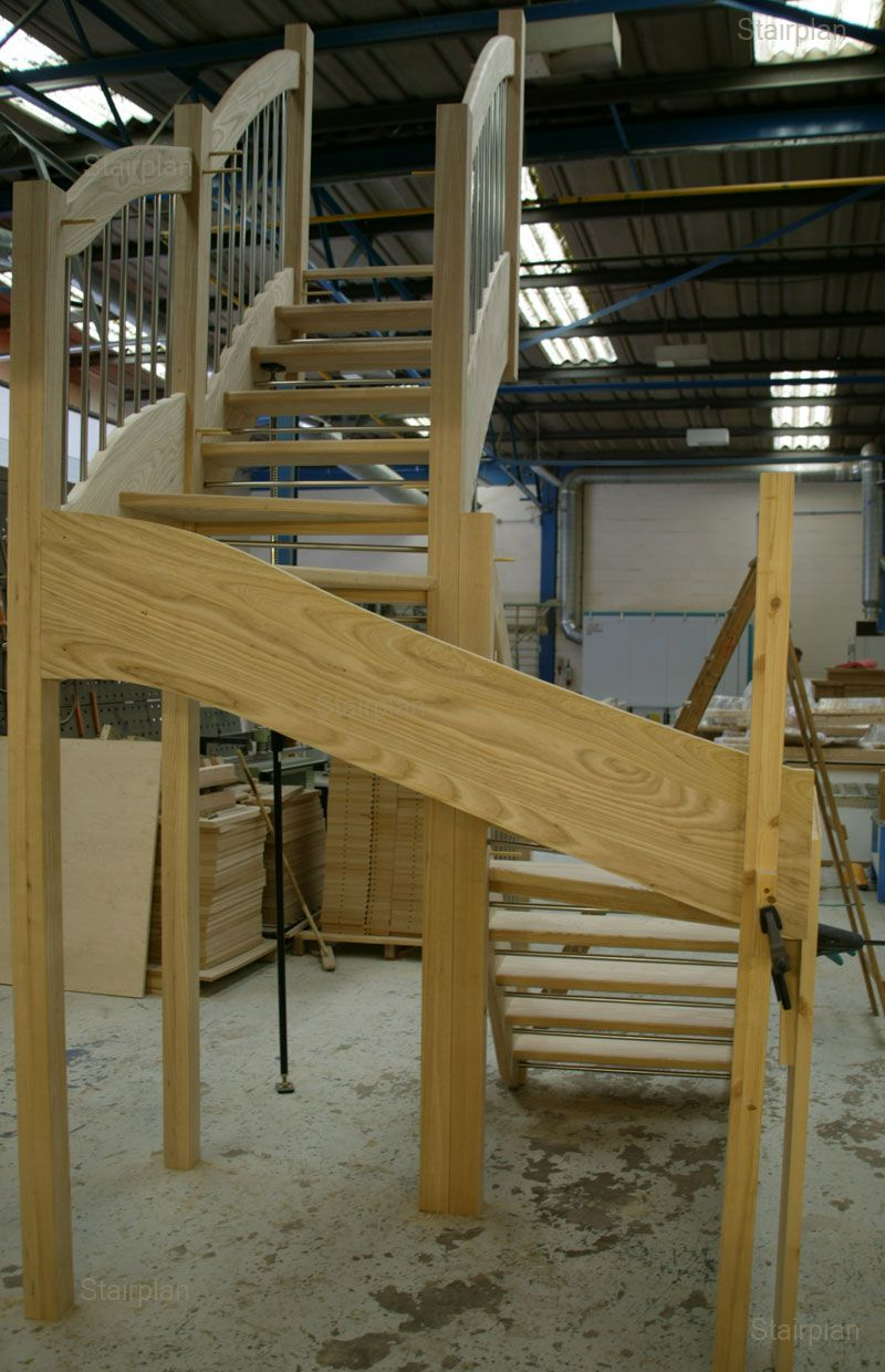 Ash double kite winder staircase riser safety bars