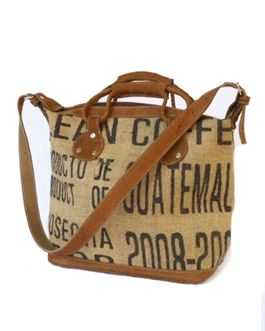La Casa - Burlap Coffee Satchel Bag - made from recycled coffee bean sack