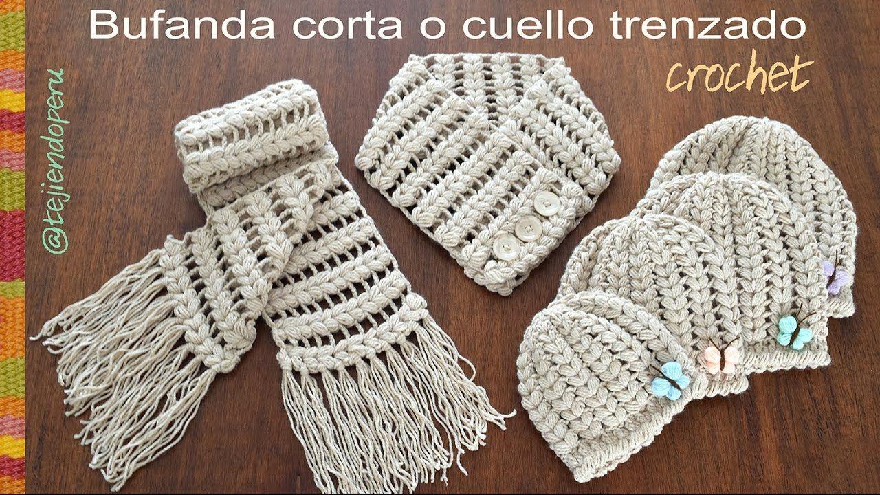 Bufanda corta o cuello trenzado tejido a crochet (a juego con los ...