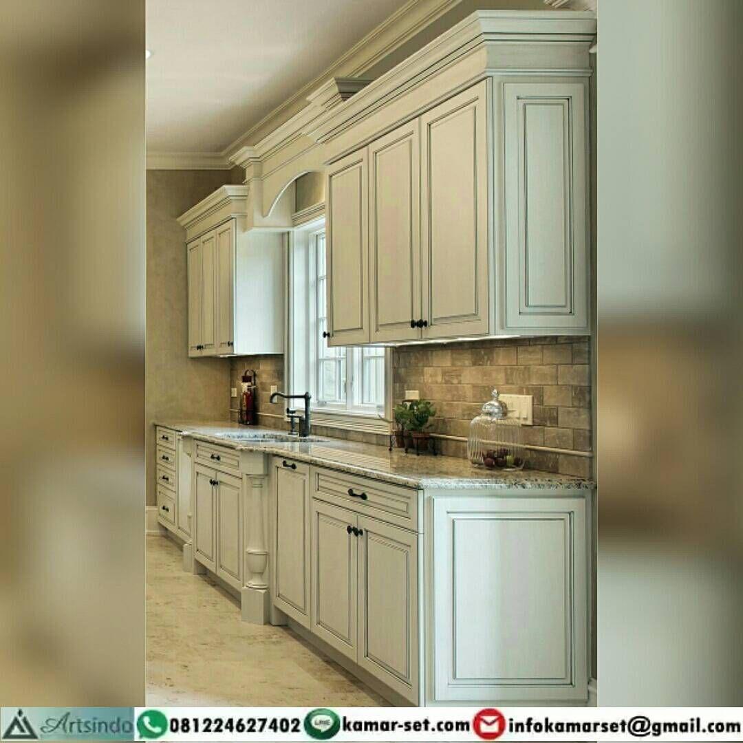 Kitchen Set Klasik Kolonial Model Lurus Top Table Marmer Bahan