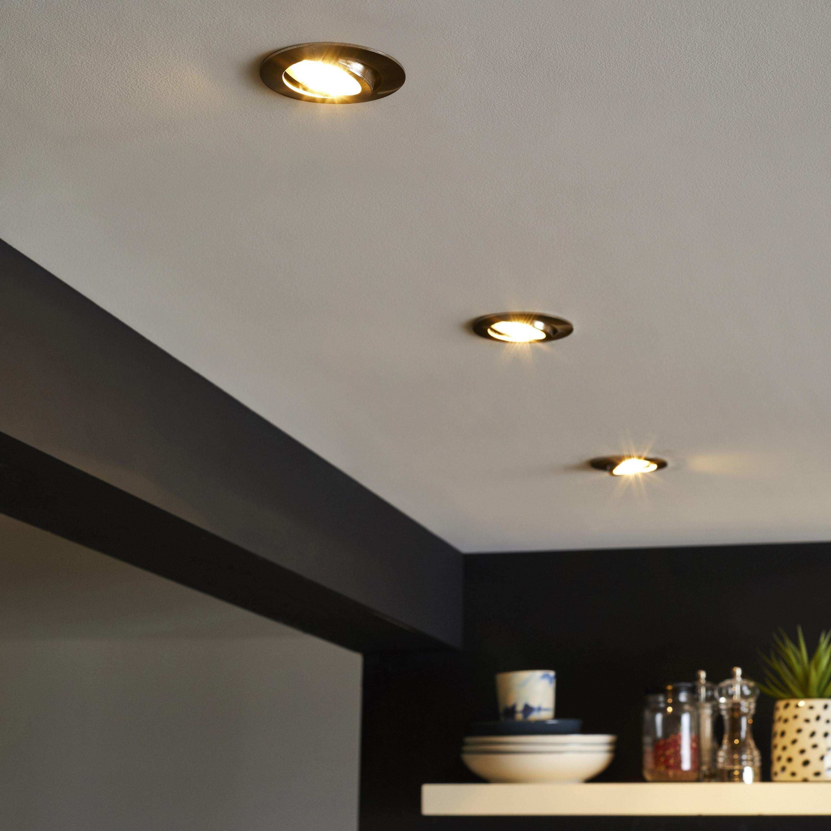 Kit 1 Spot A Encastrer Orientable Bama Gu10 Lumiere Chaude Et Variable Acier Inspire Spots Eclairage Plafond Spot Encastre Plafond