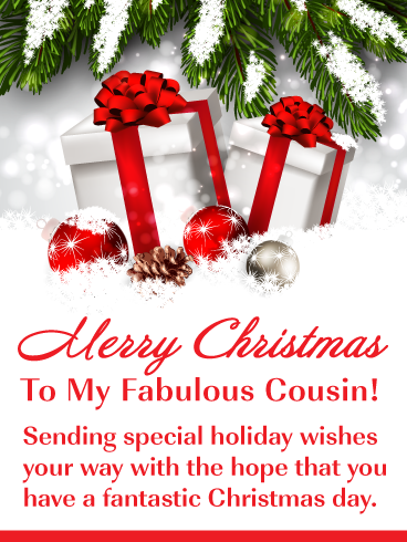 Beautiful Holiday Presents Merry Christmas Card For Cousin Birthday Greeting Cards By Davia Merry Christmas Wishes Merry Christmas Family Merry Christmas Images