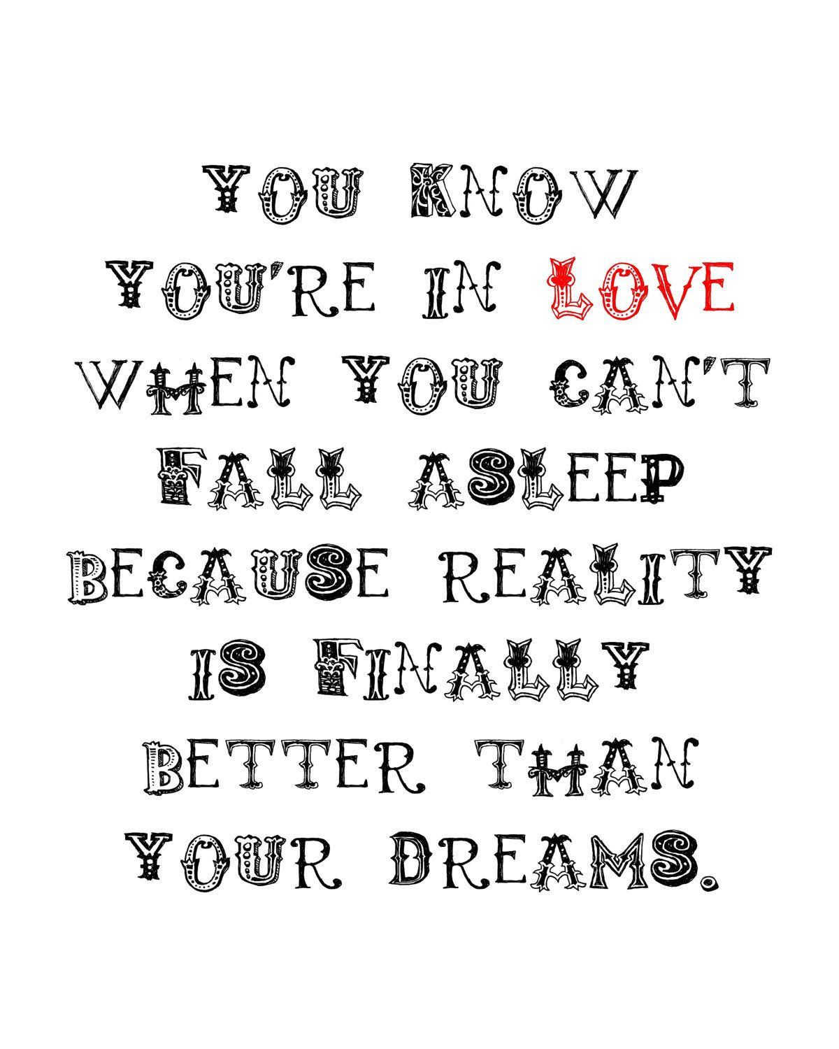 You Know You Re In Love When Quotes: You Know You're In Love. Dr. Seuss Quote. LOVE. 8x10 PRINT