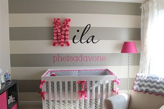 Cute Striped Wall And Personalization Modern Baby Nursery Baby