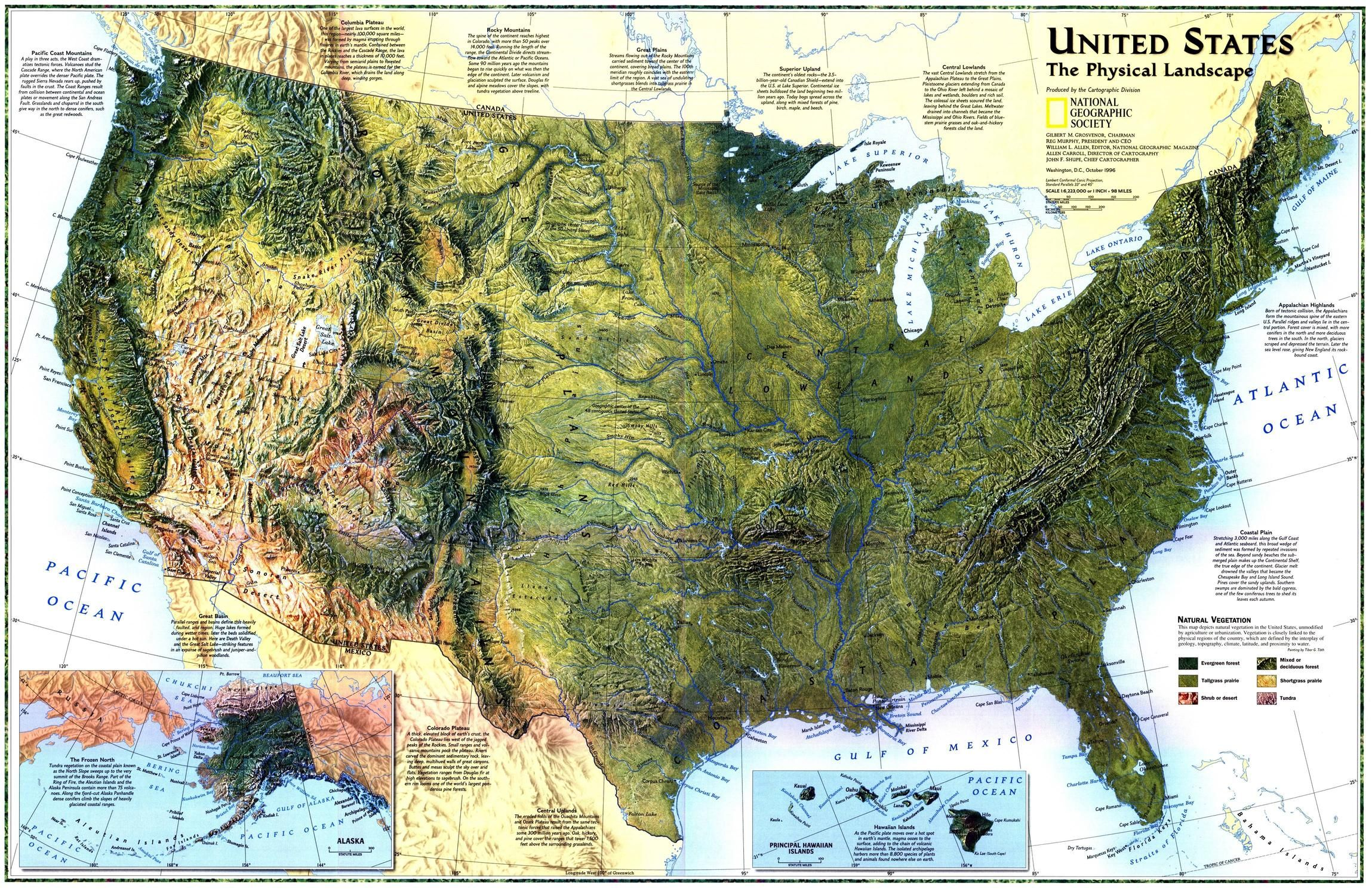 United States The Physical Landscape Map By