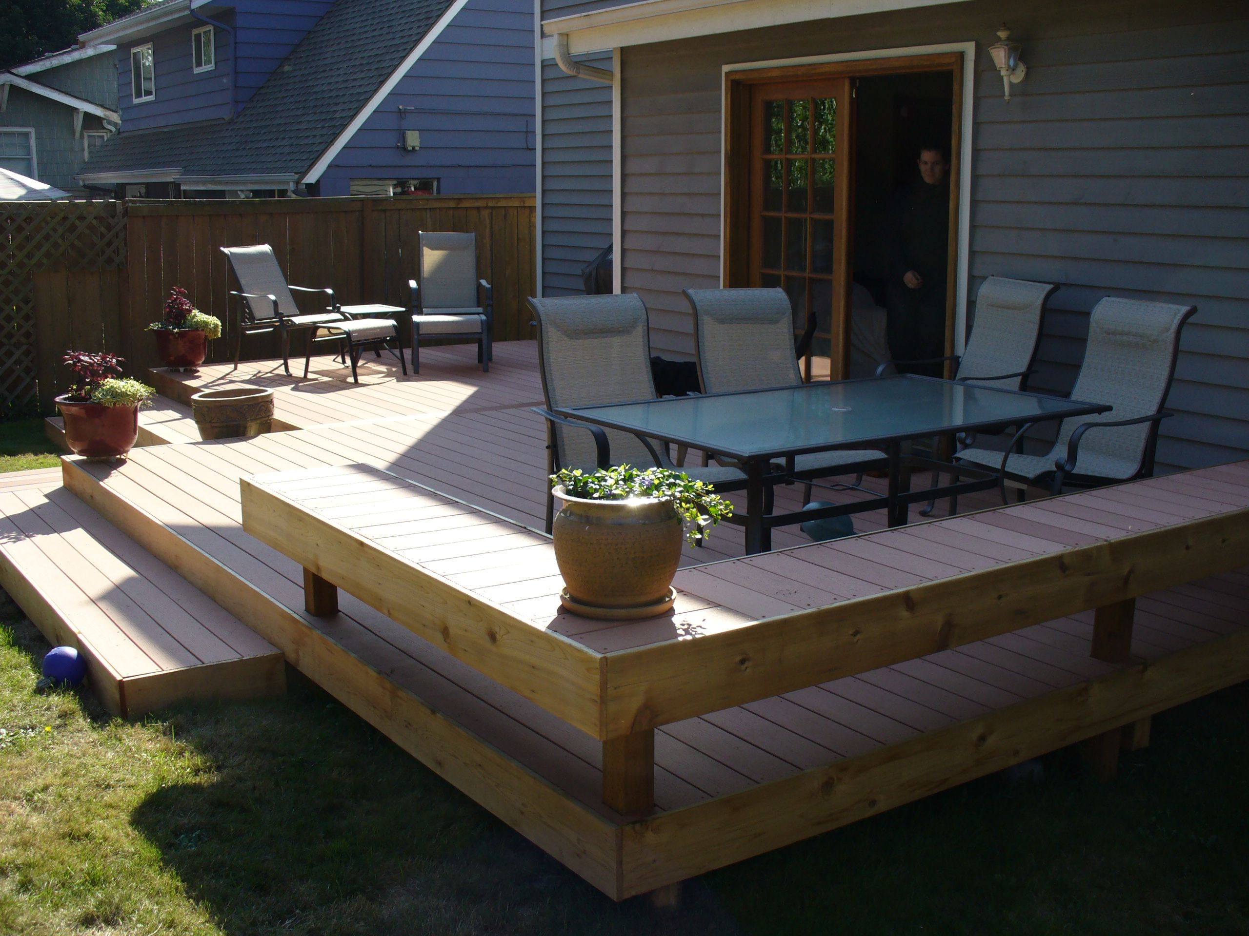 Stunning Ground Level Deck Plans For Inspiring Outdoor Decoration Ideas Ground Level Deck Plans With Bench And Cozy Furniture Fo Decks Backyard Patio Backyard
