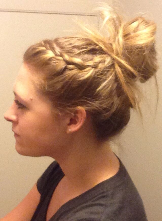 French Braided Bangs Back Into Messy Bun French Braided Bangs Braided Bangs French Braid