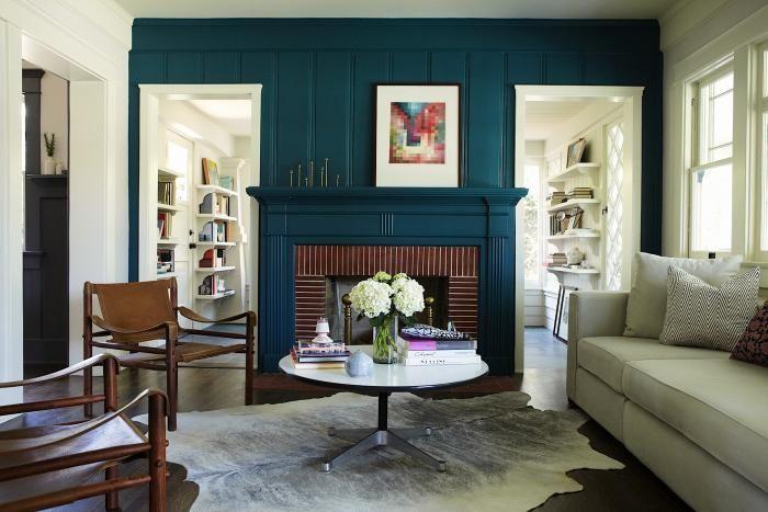 Simo Design, California Craftsman, Bungalow, deep blue green painted fireplace surround
