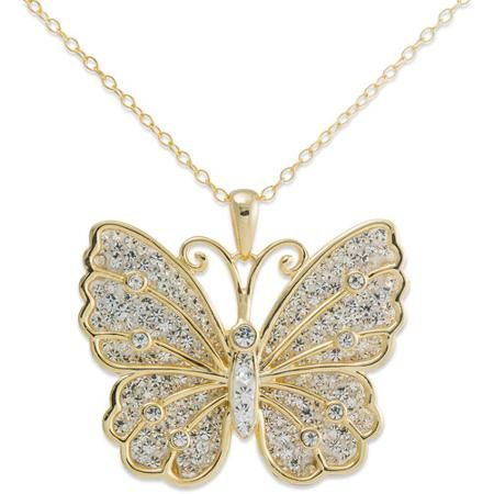 Brilliance Clear Crystal Gold Tone Sterling Silver Butterfly Pendant Walmart Com Gold Butterfly Jewelry Butterfly Pendant Necklace Butterfly Pendant