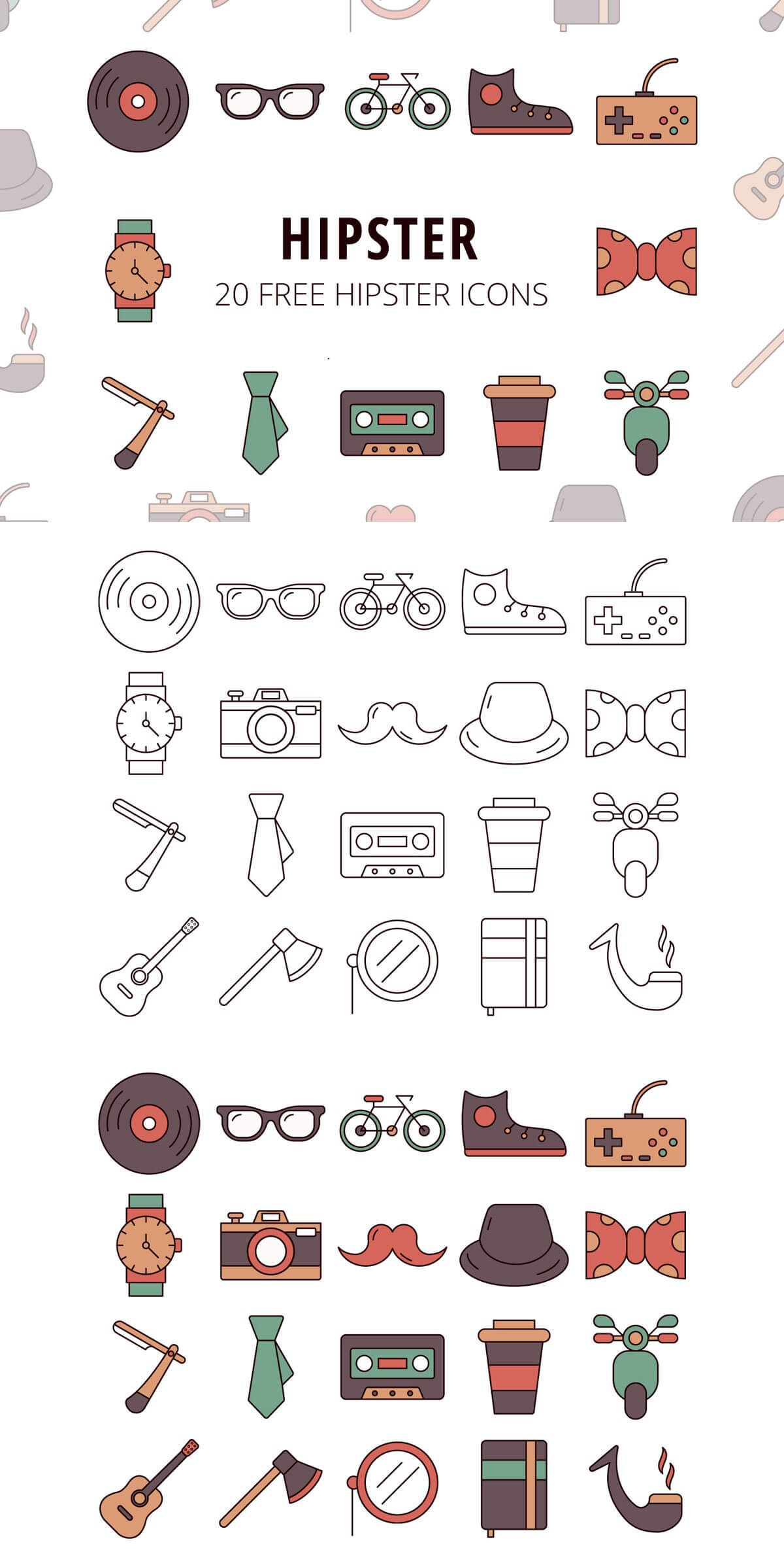 Free Hipster Vector Icon Set Icon set, Vector icons