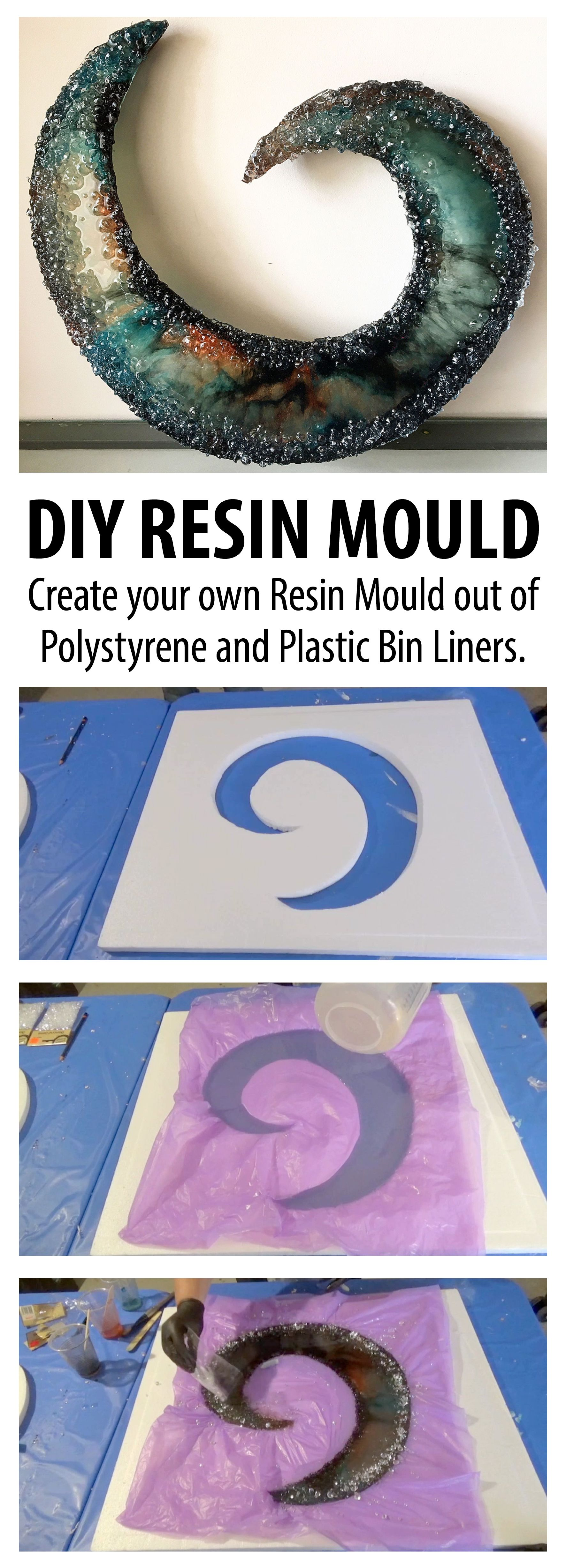 How To Create Your Own Resin Mould Out Of Bin Liners Diy Resin Mold Resin Diy Plastic Bins