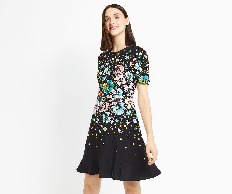 d8f8b53d0f37 Oasis, FOREST PRINT SKATER DRESS Multi Blue | Clothes | Dresses, Fashion,  Long sleeve mini dress
