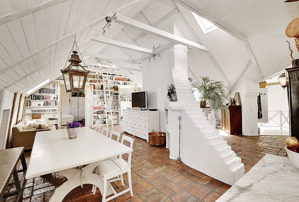 Attic apartment with shabby chic styles