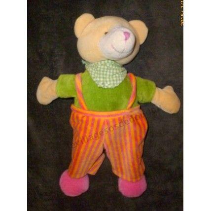 517540268b63 Cmi Playkids Ours Bandana Foulard Vichy Vert Salopette Orange Jaune ...