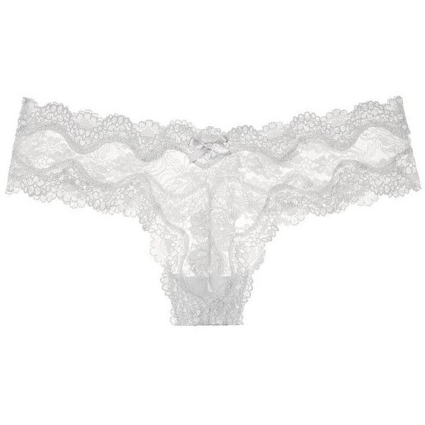 91a3bc0726e7 Victoria's Secret Lace Thong Panty ($15) ❤ liked on Polyvore featuring  intimates, panties, bow thong, low rise panties, thong panties, victoria  secret ...