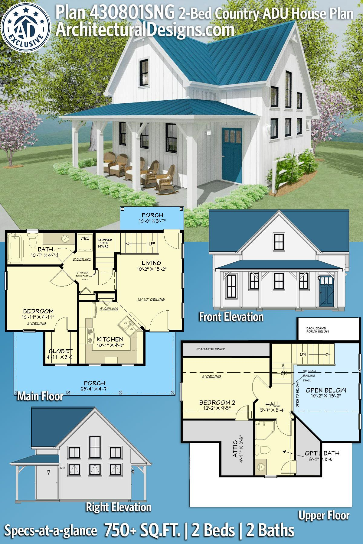Plan 430801sng Exclusive Adu 2 Bed Country Farmhouse Plan Guest House In 2020 Pool House Plans Cottage House Plans House Plans Farmhouse