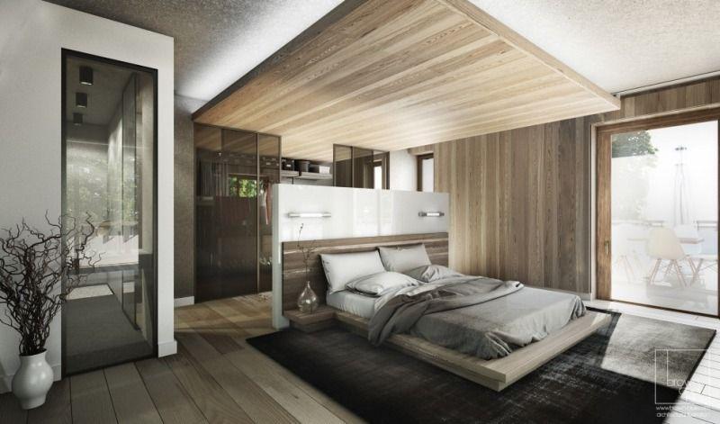 abgehängte Holz-Decke mit indirekter Beleuchtung im Schlafzimmer ...