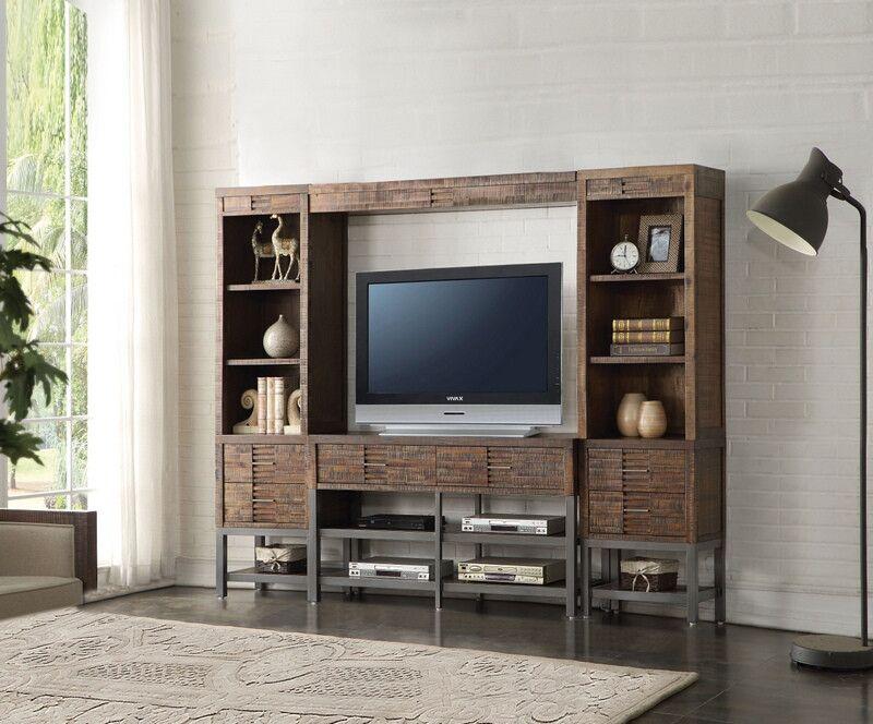 amazing living room built ins reclaimed wood tv | Acme 91620-23 4 pc Andria reclaimed oak finish wood slim ...